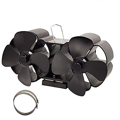 Doppelt Kaminventilator 8 Blätter Kamin Ofen Ventilator, Stromloser Feuerstelle Kaminöfen Wärmebetriebener Ofenventilator Große Räume für Kaminofen Holzöfen Umweltfreundlich ohne Strom