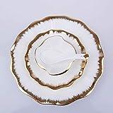 Platos de cena, juego de cena de cerámica de aspecto vintage, plato de hotel de 16 piezas, juego de cuencos de porcelana de hueso, cubiertos para carne, plato de postre dorado, servicio para 4 cubier
