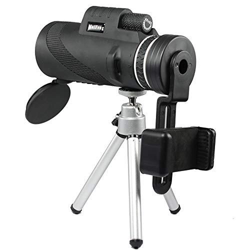 ZXASDC Telescopio monocular de 40 x 60 de Alta Potencia Prism con Adaptador para Smartphone, Impermeable para la observación de pájaros, la Caza, el Senderismo (Negro)