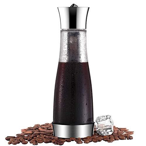 Glaskaraffe Kaffeebereiter für Cold Brew Kaltbrüh-Kaffeemaschine mit Kühlelement Filter für Wasser, Tee, Eis-Kaffee im Büro und zu Hause, 1 L