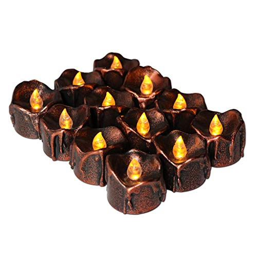 Backbayia 12 Stück LED Kerzen Weihnachtskerzen Teelichter Campingleuchte Campinglampe