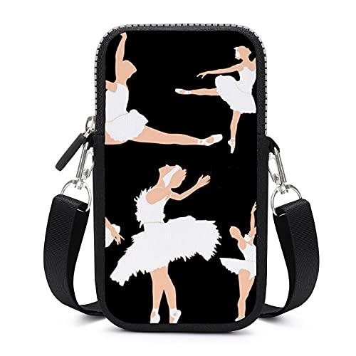 Bolso bandolera para teléfono móvil con correa de hombro extraíble para niñas y ballet resistente al desgaste para llaves brazalete cartera gimnasio fitness bolsas mujeres