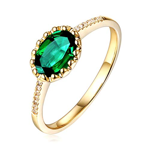Aimsie Women's ring, wedding ring, emerald flower band in oval cut rings, women's engagement 18 carat (750) yellow gold ring, 18 carat gold ring, white gold and green. Green