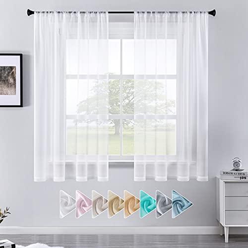 CUTEWIND Cortinas con barra de paso, cortinas de voile de poliéster, semitransparentes,...