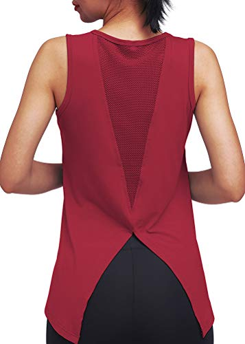 Mippo Women's Fashion 2019 Workout Tops Sexy Open Back Yoga Shits Mesh Tie Back Muscle Workout Tank Sleeveless Cute Fitness Active Tank Tops Comfort Sports Clothes Wine Red S