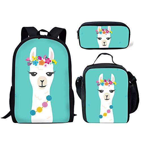 Junior School Backpack Set for Teen Boys Girls Floral Alpaca Designs Lunch Box with Pen Case