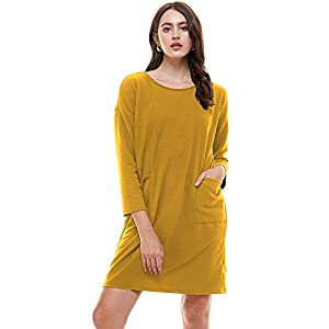 Women's Crew Neck Long Sleeve Pocket Casual Loose Fit Midi Dress Made...