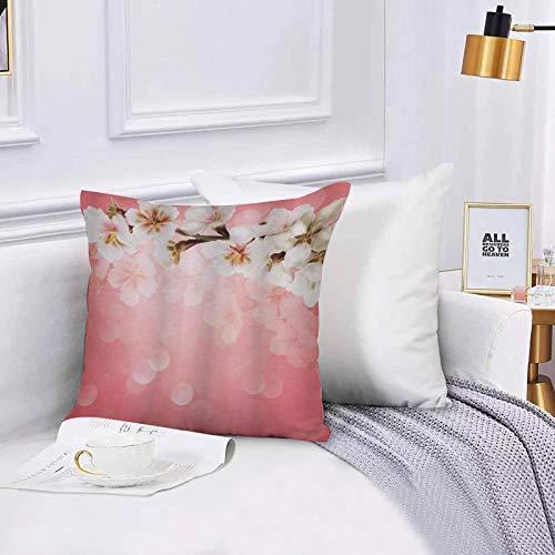 Lilatomer Funda de algodón 45 x 45 cm Coral Blossoming Tree Branch Japonés Cherry Sakura Fresh Spring Garden Romántico, Sofá Throw Cojín Almohada Caso de la Cubierta para Sala de Estar 45x45cm
