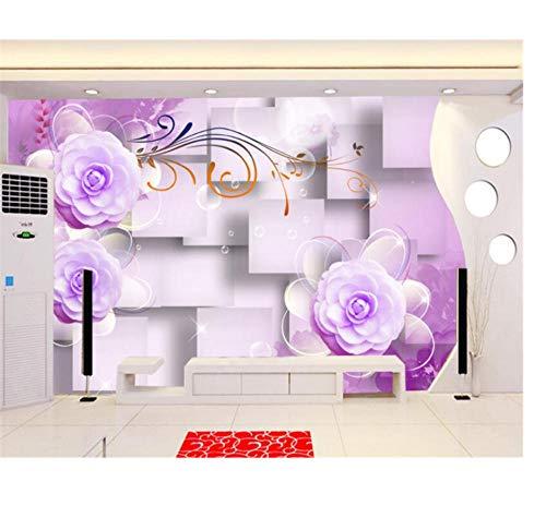 Benutzerdefinierte Fototapete Lilane Blumen Self Print Home Decor Art für Schlafzimmer 3D HD Wallpaper Szene und von Adhesive Living