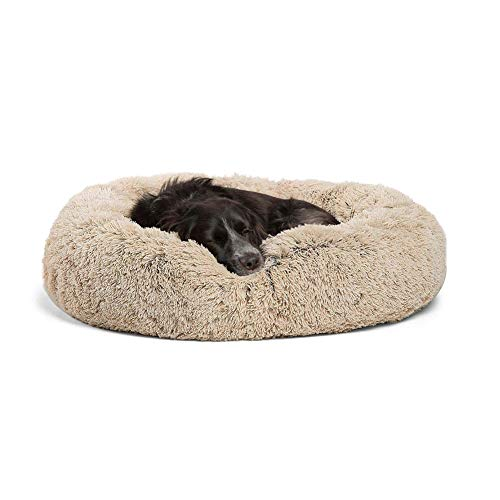 Extra Large Faux Fur Dog Bed Donut cuddler Calming Pet Sofa Cushion Warm Sleeping Dog Bed for Labrador,Golden Retriever,German Hound/Shepherd 120cm