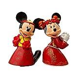 2 unids / Set Lindo Minnie Mickey Mouse Casarse Figura de acción China muñecas Rojas niños Figuras de Juguete Adornos Regalo de Boda Regalo para niños 15Cm