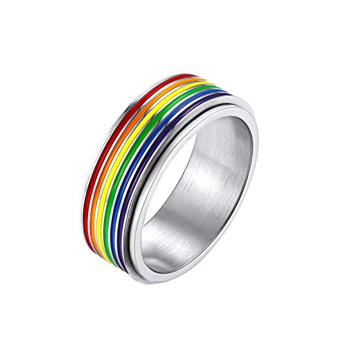 Bandmax Stainless Steel Rainbow Pride Rings For Women Men Spinner Rings Anxiety Fidget Rings Gay Parade LGBT Ring For Lover Friendship Wedding Engagement Bands Size 8 With 7.8mm Width (Gift Box)