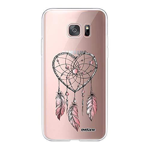 Evetane 90768 - Carcasa para Samsung Galaxy S7 Edge 360 (Parte Delantera Trasera, Resistente, protección sólida, Funda Transparente, atrapasueños con Corazones, diseño de Tendencia 90768)