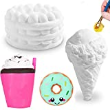 DIY Dessert Paint Your Own Squishies Kit for Kids, Slow Rise Squishies Top Christmas Arts and Crafts Toy for Girl & Boys,Ice Cream Food Squishies Blank White Squishys Creamy Scented Stress Relief Toy