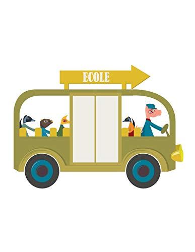 Decoloopio sticker voor kinderen, bus, school, groen 100 x 74 cm Meerdere kleuren