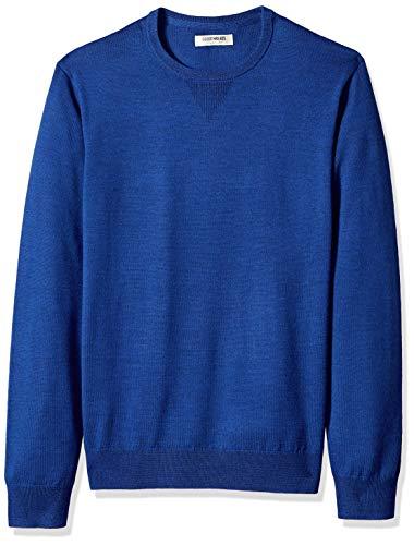 Amazon Brand - Goodthreads Men's Lightweight Merino Wool Crewneck Sweater, Bright Blue, Medium