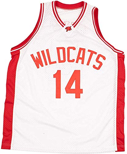 Zac E Troy Bolton 14 East High School Wildcats White Patch Basketball Jersey (34)