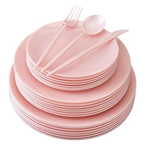 Silver Spoons 1965 VAJILLA DE Fiesta DESECHABLE | 156 Piezas Grandes Ensalada | 20 Platos de Postre | 48 Tenedores cucharas | 24 Cuchillos (Opulence-Rosado), Plastic