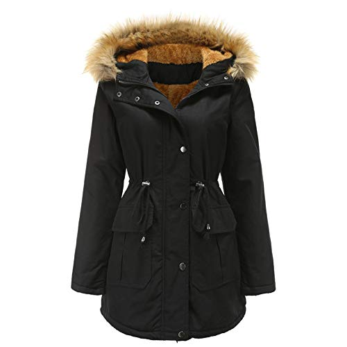WXHNZYQ Plus Samt Gepolsterte Jacke Mit Kapuzenpelzkragen Winter Warme Jacke Plus Size Damen Gepolsterte Jacke, Jackenjacke, Freizeitjacke