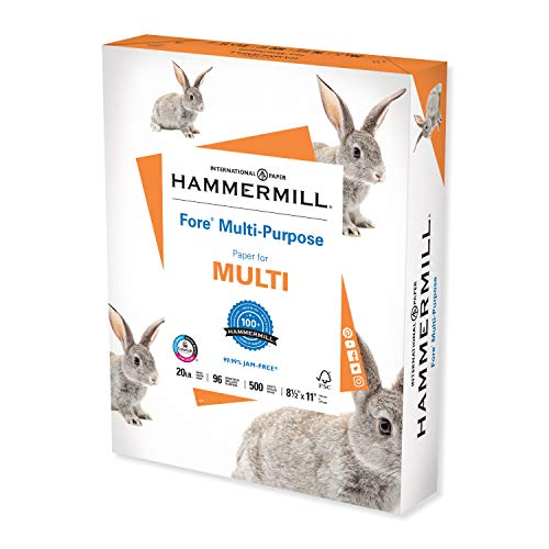 Hammermill Printer Paper, Fore Multipurpose 20 lb Copy Paper, 8.5 x 11 - 1 Ream (500 Sheets) - 96 Bright, Made in the USA, 103267