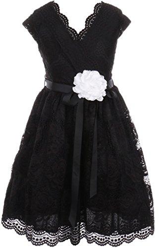 Little Girl Cap Sleeve V Neck Flower Border Stretch Lace Corsage Belt Flower Girl Dress (20JK66S) Black 6