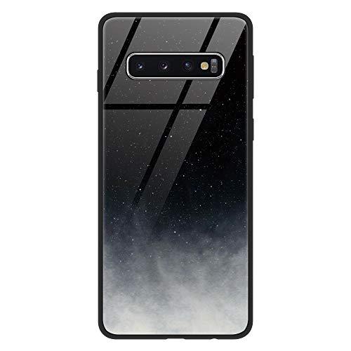 ZhuoFan Cover Samsung Galaxy S10 Plus, Custodia Antiurto con Disegni in Vetro Temperato 9H [AntiGraffio] + Cornice Paraurti in Silicone Morbido per Samsung Galaxy S10 Plus (Nero Grigio)