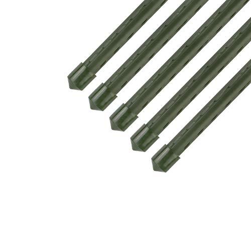 Sekey Pflanzenstäbe Gartenpflanze Unterstützung beim Wachsen von Pflanzen, Kunststoff beschichtetes Stahlrohr 11mm Durchmesser. 145 cm Lange Packung 5