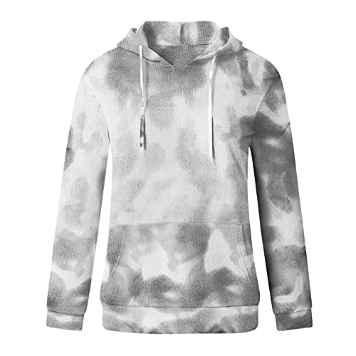 Uqiangy Hoodie Womens Classic Basic Hooded Athletic Top Lady Lightweight Casual Sweatshirt Blouse With Pocket,Multicolor (P-Grey, 22)