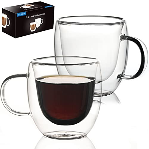 Mugs 5 oz Glass Espresso Cup Set of 2 - Double Wall Insulated Clear Coffee Mugs With Handle & Suspended Base Design - Thick Expresso Coffee Cups For Americano, Lattes, Tea, Cappuccinos, and More…