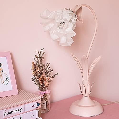 Moderno contratado Europa tipo princesa sueño niña encantadora dibujos animados niños habitación creativa personalidad dormitorio flor lámpara de noche (Color : Pink)