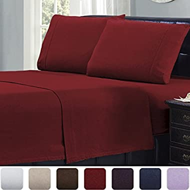 Mellanni 100% Cotton 4 Piece Flannel Sheets Set - Deep Pocket - Warm - Super Soft - Breathable Bedding (Queen, Burgundy)