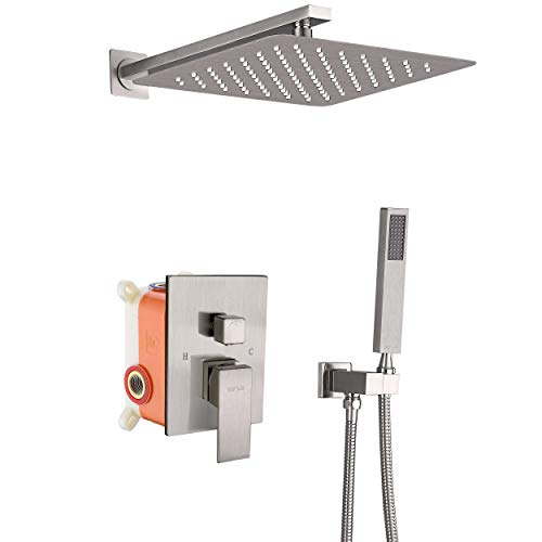 ESNBIA Shower System Brushed Nickel with Valve and 12