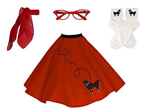 Hip Hop 50s Shop Adult 4 Piece Poodle Skirt Costume Set Handmade in the USA Red XSmall/Small