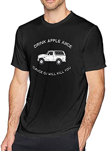Shirts for Men Graphic Tee Shirt Tshirts for Men with Drink Apple Juice OJ Will Kill You Graphic,Black,M