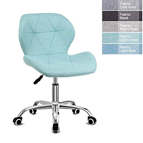 EUCO Schreibtischstuhl, Bürostuhl, Kunstleder, Polyurethan, verstellbare Höhe, Computerstuhl, gepolsterter Drehstuhl, Heim-/Büromöbel lichtgrün