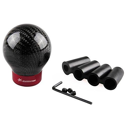 RYANSTAR Carbon Fiber Shift knob Round Ball Racing Gear Shift Shifter Knob Head Manual Car with 8mm/10mm/11mm Adapter