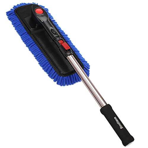 Txian Professional Brosse de lavage de voiture en microfibre avec manche long télescopique et amovible, vadrouille de lavage de voiture sans peluches