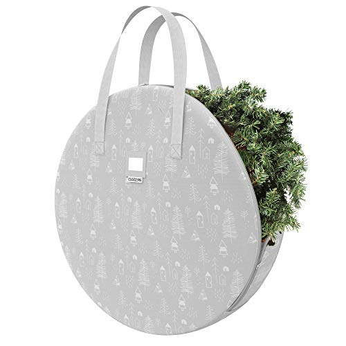 "CLOZZERS Christmas Wreath and Garland Bag with Durable Zippered Closure and Sturdy Handles, for Wreaths up to 30"" Inches, Heavy Duty, Tear Proof and Water Resistant, Grey Village Print"