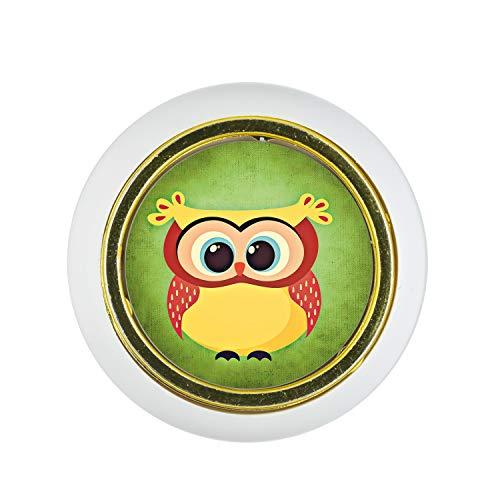 Möbelknopf Kunststoff Klein & Elegant KST03358W Weiss Tier Cartoon Lustig Eule Motiv - Kleine Universal Möbelknöpfe für Schrank, Schublade, Kommode, Tür, Küche, Bad, Haushalt Kinder Kinderzimmer