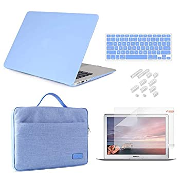 iCasso MacBook Pro 15 Inch Case 2019 2018 2017 2016 Release Model A1990/A1707 Bundle 5 in 1 Hard Plastic Case,Sleeve,Screen Protector,Keyboard Cover&Dust Plug Compatible MacBook Pro 15 -Serenity Blue