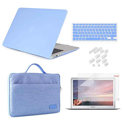 MacBook Pro 13 Inch Case 2019 2018 2017 2016 Release A2159/A1989/A1706/A1708, iCasso Hard Plastic Case, Sleeve, Screen Protector, Keyboard Cover & Dust Plug Compatible MacBook Pro 13'' - Serenity Blue