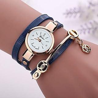 HUFAN Metal Strap Wristwatch Bracelet Quartz Watch(Black) (Color : Blue)