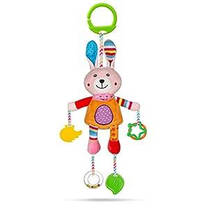 MOOKLIN ROAM Bebé Juguetes de Sonajeros, Dibujos Animados Animales Mordedores Cochecitos de Peluche de Desarrollo Temprano, Juguete Colgantes para Cuna Asiento de Coche Nacidos 0 a 18 Meses (Conejo)
