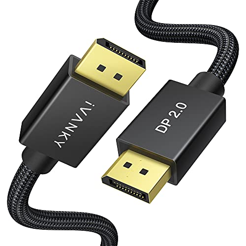 DisplayPort 2.0 Cable, iVANKY 16K DP 2.0 Cable with 80Gbps Bandwidth [16K@60Hz, 10K@60Hz, 8K@60Hz, 4K@165Hz], Support HDR, HDCP 2.2, 3D, ARC, Compatible with Gaming Monitor, TV and More (6.6ft)