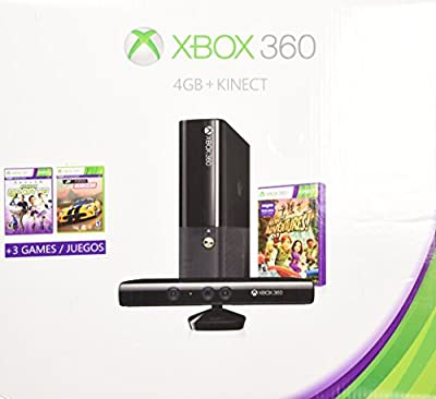 Xbox 360 4gb Kinect Holiday Bundle with 3 Games Forza Horizons, Kinect Sports, and Kinect Adventures from Microsoft