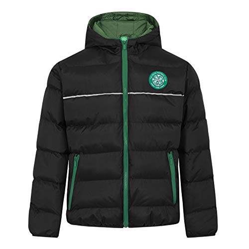 Celtic FC Official Soccer Gift Boys Quilted Hooded Winter Jacket 6-7 Years Black