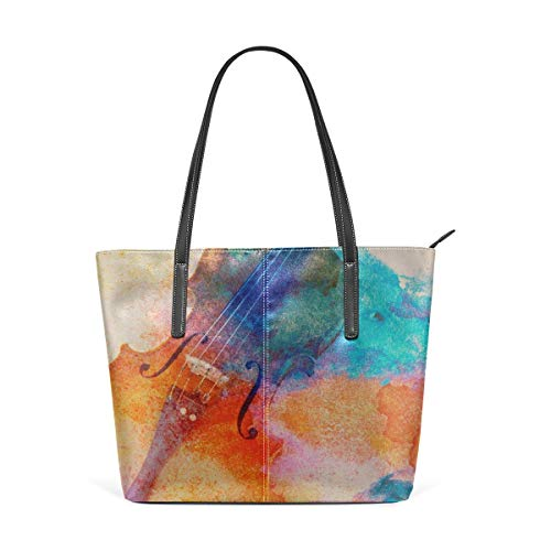 Borse a spalla da donna Laptop Tote Bag Old Violin Lying On The Sheet Of Music Large Printed Shoulder Bags Handbag Pu Leather Top Handle Satchel Purse Lightweight Work Tote Bag For Women Girls