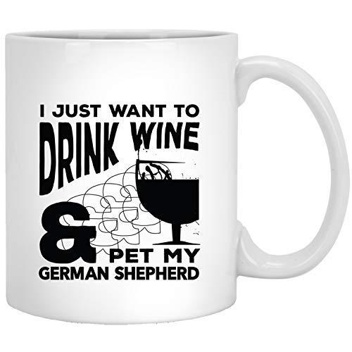 Queen54ferna wijn en Duitse herder - grappige geschenken idee voor hond moeder vader eigenaar wit novelty koffie mokken keramische 11 oz thee mok