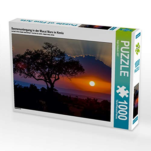 CALVENDO Puzzle Sonnenuntergang in der Masai Mara in Kenia 1000 Teile Lege-Größe 64 x 48 cm Foto-Puzzle Bild von Ingo Gerlach