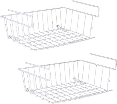 Under Shelf Storage Basket, m zimoon Under Cabinet Hanging Metal Wire Storage Wire Basket Organizer Fit Dual Hooks for Kitchen Pantry Desk Bookshelf Cupboard (2pcs, White)